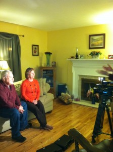 My Mom and Dad being interviewed.  