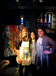 The painting, Paige, me, and Jen.